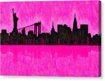 New York Skyline Silhouette Pink - Da Canvas Print