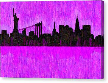 New York Skyline Silhouette Purple - Pa Canvas Print by Leonardo Digenio