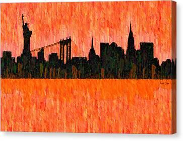 New York Skyline Silhouette Red - Da Canvas Print