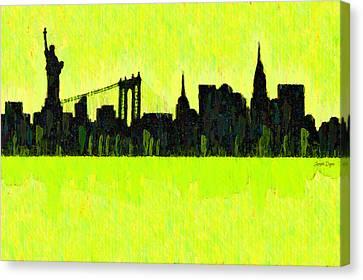 New York Skyline Silhouette Yellow-green - Pa Canvas Print by Leonardo Digenio