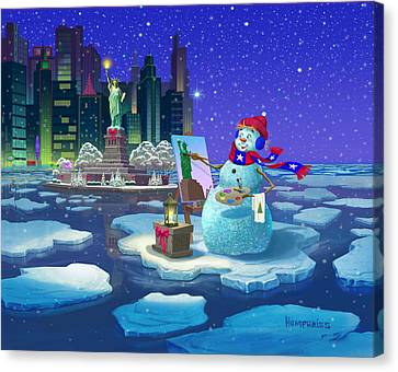 New York Snowman Canvas Print by Michael Humphries