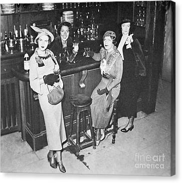 New York Society Women Enjoy Their First Legal Drink After The Repeal Of The Volstead Act In 1933 Canvas Print by American School