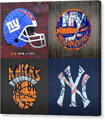 New York Sports Team License Plate Art Collage Giants Islanders Knicks Yankees Canvas Print by Design Turnpike