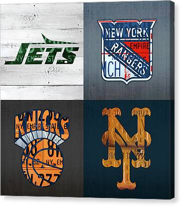 New York Sports Team License Plate Art Collage Jets Rangers Knicks Mets V2 Canvas Print by Design Turnpike