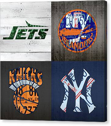 New York Sports Team Logo License Plate Art Jets Islanders Knicks Yankees V5 Canvas Print by Design Turnpike