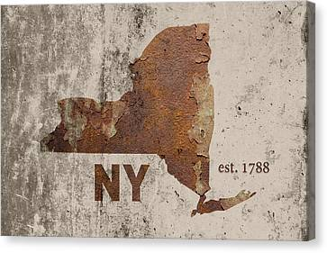 Rust Canvas Print - New York State Map Industrial Rusted Metal On Cement Wall With Founding Date Series 001 by Design Turnpike
