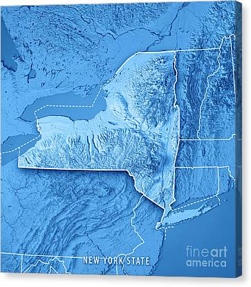Finger Lakes Canvas Print - New York State Usa 3d Render Topographic Map Blue Border by Frank Ramspott