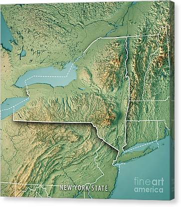 Finger Lakes Canvas Print - New York State Usa 3d Render Topographic Map Border by Frank Ramspott
