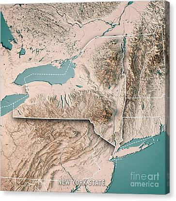 Finger Lakes Canvas Print - New York State Usa 3d Render Topographic Map Neutral by Frank Ramspott