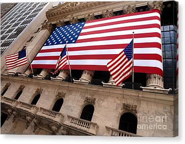 New York Stock Exchange American Flag Canvas Print by Amy Cicconi