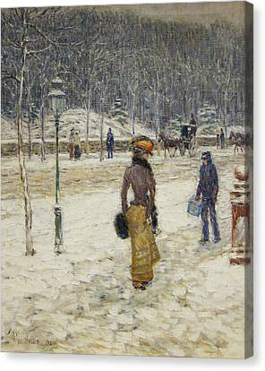 New York Street Canvas Print by Childe Hassam