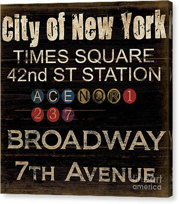 Vintage Sign Canvas Print - New York Subway by Grace Pullen