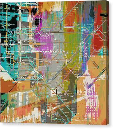 New York Subway Map Canvas Print by Brandi Fitzgerald