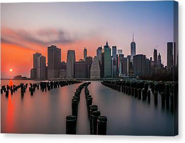 Canvas Print featuring the photograph New York Sunset by RC Pics