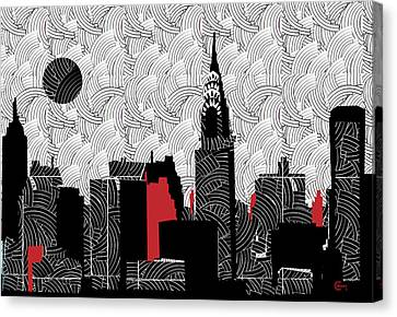 Wavy Canvas Print - New York City Skyline Swing  by Cecely Bloom