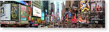 New York Times Square Panorama Canvas Print by Kasia Bitner