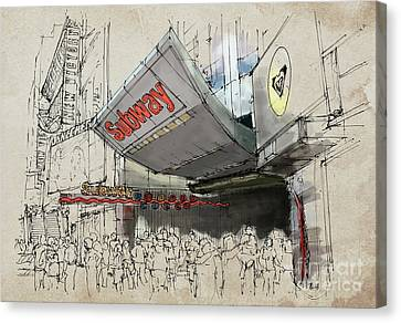 New York Times Square Subway Sketch Canvas Print by Pablo Franchi