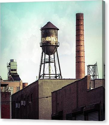 Canvas Print featuring the photograph New York Water Towers 19 - Urban Industrial Art Photography by Gary Heller