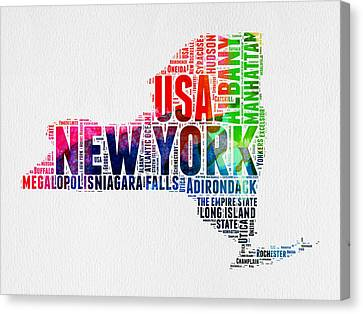 New York Watercolor Word Cloud Map Canvas Print by Naxart Studio