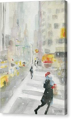 Black And Yellow Canvas Print - New York Winter 57th Street by Beverly Brown Prints