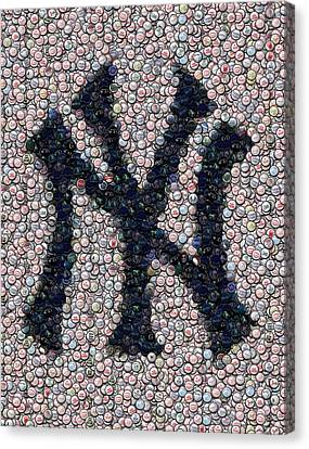 New York Yankees Bottle Cap Mosaic Canvas Print