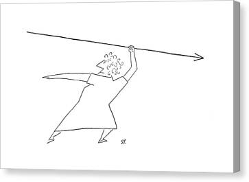 Backward Canvas Print - New Yorker April 19th, 1952 by Saul Steinberg