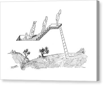 Existence Canvas Print - New Yorker April 24th, 1965 by Saul Steinberg