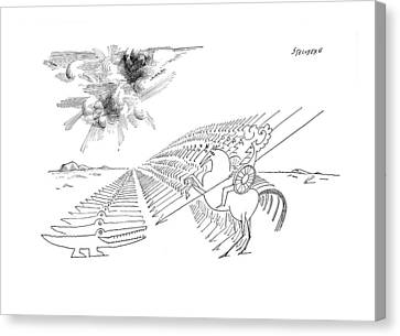 Crocodile Canvas Print - New Yorker February 29th, 1964 by Saul Steinberg