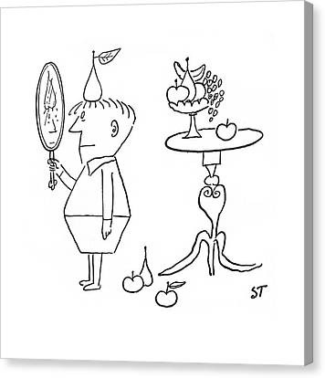 A Hand Mirror Canvas Print - New Yorker January 3rd, 1953 by Saul Steinberg