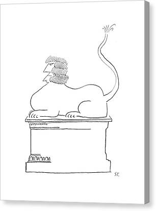 Threatening Canvas Print - New Yorker May 2nd, 1953 by Saul Steinberg