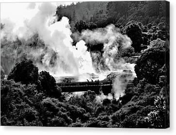 New Zealand - Figures Against Hot-steam - Black And White Canvas Print