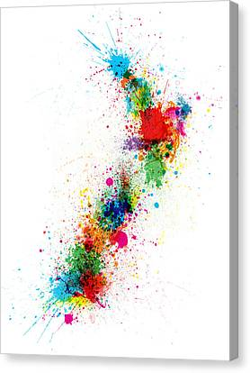 New Zealand Paint Splashes Map Canvas Print by Michael Tompsett