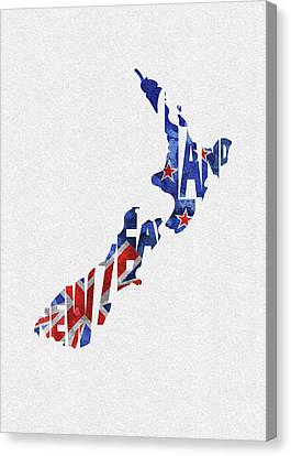 Dirty Canvas Print - New Zealand Typographic Map Flag by Inspirowl Design