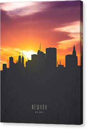 Newark New Jersey Sunset Skyline 01 Canvas Print by Aged Pixel