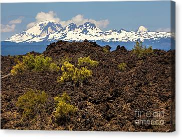 Mountain Canvas Print - Newberry National Volcanic Monument And Sisters Mountains by David Millenheft