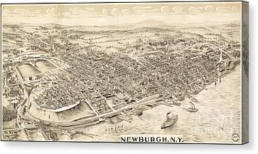 Newburgh Ny Birds Eye Drawing Canvas Print