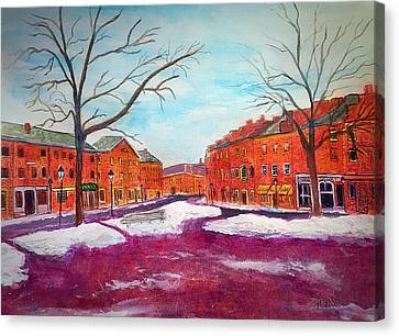 Newburyport Ma In Winter Canvas Print