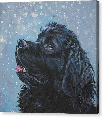 Christmas Dog Canvas Print - Newfoundland In Snow by Lee Ann Shepard