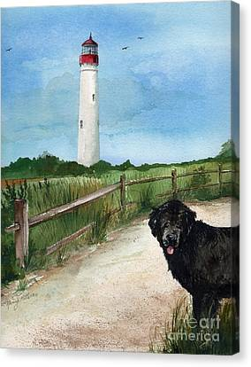 Newfy At Cape May Light  Canvas Print by Nancy Patterson