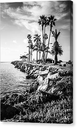 Newport Beach Jetty Black And White Picture Canvas Print