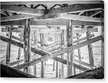 Newport Beach Pier Black And White Photo Canvas Print by Paul Velgos
