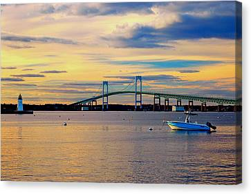 New England Lighthouse Canvas Print - Newport Harbor 2 by Joann Vitali