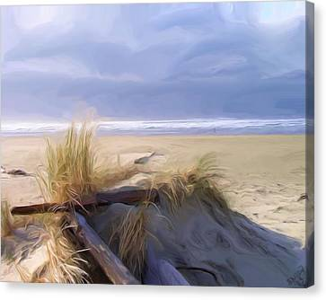 Canvas Print featuring the painting Newport Oregon Summer Beach by Shelley Bain