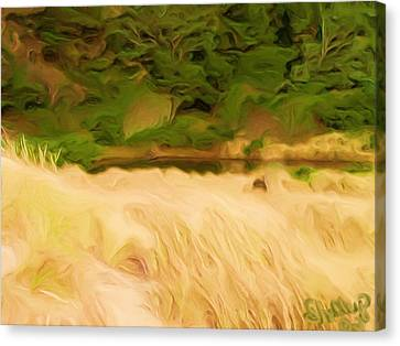 Canvas Print featuring the painting Newport Oregon Tidal Pool by Shelley Bain