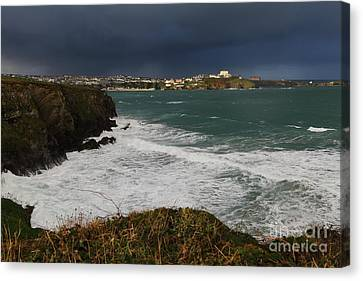 Canvas Print featuring the photograph Newquay Squalls On Horizon by Nicholas Burningham