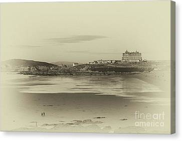 Canvas Print featuring the photograph Newquay With Old Watercolor Effect  by Nicholas Burningham