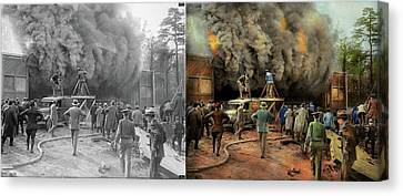 Hidden Face Canvas Print - News Reporter - Metrotone News 1928 - Side By Side by Mike Savad