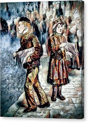 Canvas Print featuring the digital art Newsboy by Pennie McCracken