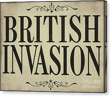 Fab Four Canvas Print - Newspaper Headline British Invasion by Mindy Sommers
