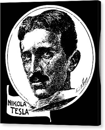 Canvas Print featuring the digital art Newspaper Tesla 2 by Daniel Hagerman